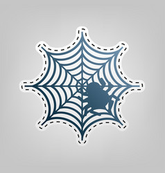 Spider on web blue icon with vector