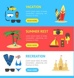 summer rest banner horizontal set vector image vector image