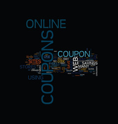 The concept of coupons text background word cloud vector