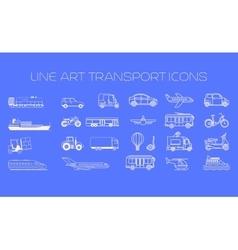 Transport line icons big set vector image vector image