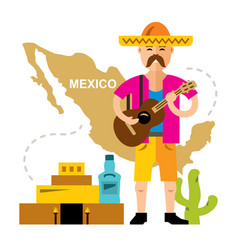 Travel concept mexico flat style colorful vector