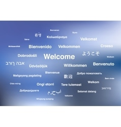 Welcome phrases in different languages of the vector