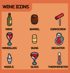wine outline color isometric icons vector image