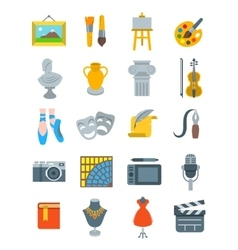 Art and crafts flat icons set vector image