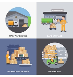 Warehouse 2x2 flat design concept vector