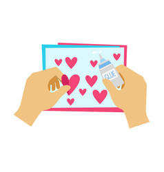 Two hands gluing hearts to paper postcard vector