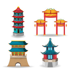 China temple collection design set vector