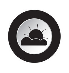 Round black white button - weather partly cloudy vector