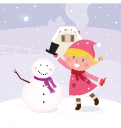 Winter girl making snowman vector
