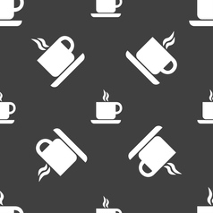Coffee icon sign seamless pattern on a gray vector