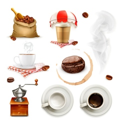 Coffee icon set and elements vector