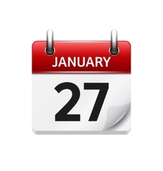 January 27 flat daily calendar icon date vector
