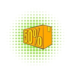 Half price special offer icon comics style vector