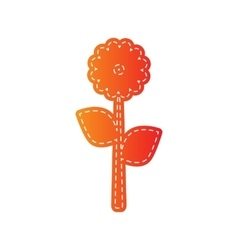Flower sign  orange applique isolated vector