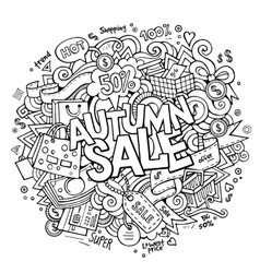 Cartoon cute doodles hand drawn shopping vector