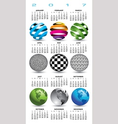 A 2017 calendar with nine abstract globes vector image