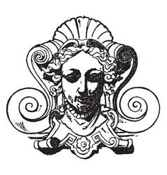 Akroter grotesque mask vintage engraving vector