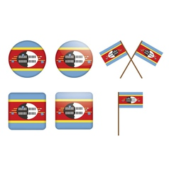 badges with flag of Swaziland vector image vector image