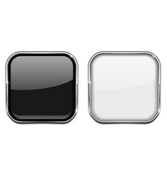 Black and white square buttons in chrome frame vector