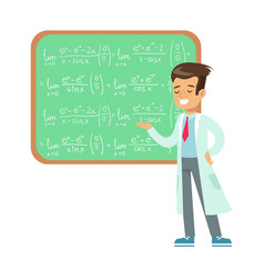 boy mathematician writing formulas on blackboard vector image