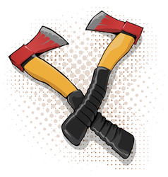 cartoon axe icon with yellow handle vector image