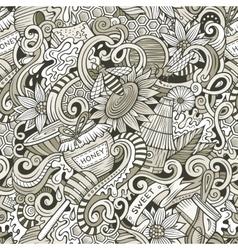 Cartoon cute doodles hand drawn Honey seamless vector image vector image