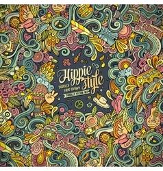 Cartoon hand drawn doodles hippie vector image