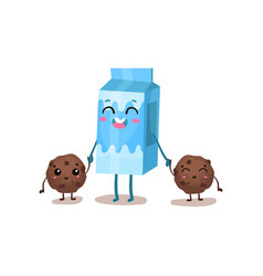 Cute box of milk and cookies characters are best vector