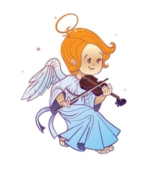 Cute happy smilingy christmas bab angel playing vector