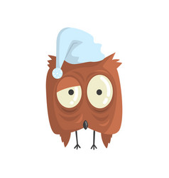 cute little brown sleepy chick bird standing vector image vector image