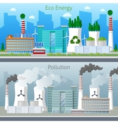 Eco factory green energy and air pollution vector