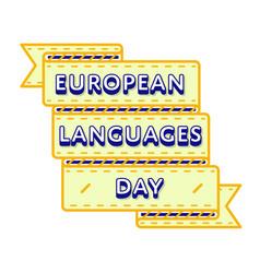 european languages day greeting emblem vector image vector image