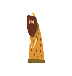Funny bearded king character in mantle cartoon vector