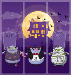 Halloween and background set 6 vector image