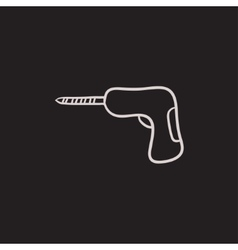 Hammer drill sketch icon vector image