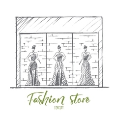 Hand drawn female mannequins in fashion shop vector