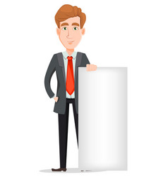 Handsome businessman in suit standing near blank vector