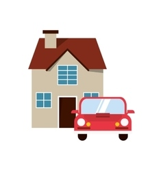 House and car icon vector