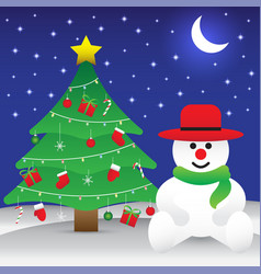 merry christmas - snowman sitting next to vector image vector image