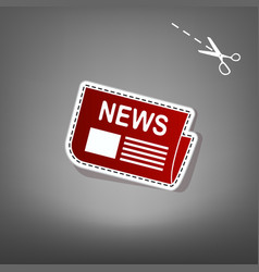 Newspaper sign red icon with for applique vector
