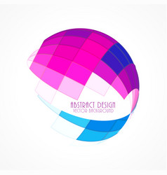 Pink and blue 3d sphere made with mosaic shapes vector