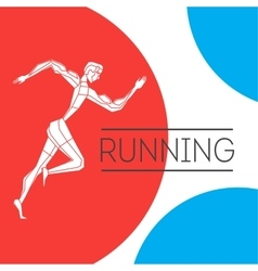 Running man with color shape vector image vector image