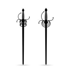 Sword ancient set in black color vector