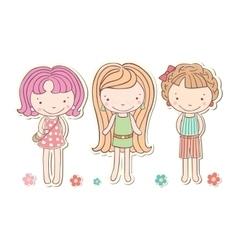 Three girls little funny isolated cartoon vector