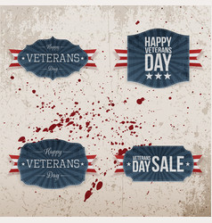 Veterans day festive emblems collection vector