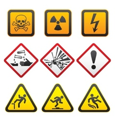 warning symbols hazard signsfirst set vector image
