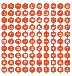 100 electrical engineering icons hexagon orange vector