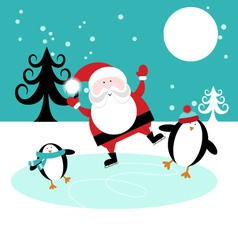 Santa and penguins skating on ice vector