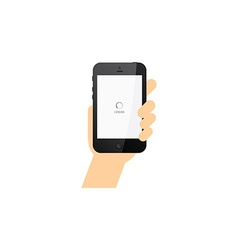 Hand holding phone commercial template vector