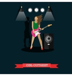 Girl guitarist playing electric guitar on stage vector